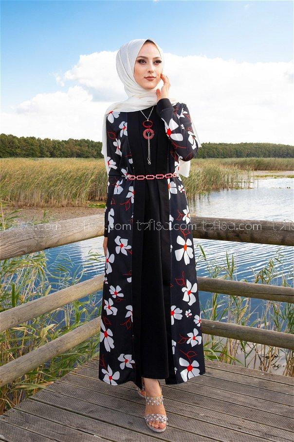 Dress Jacket Belt Necklace Black - 9053