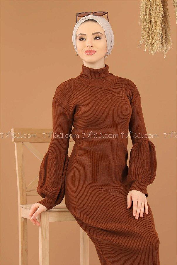 Dress Knitwear Balloon Arm brouwn - 8278