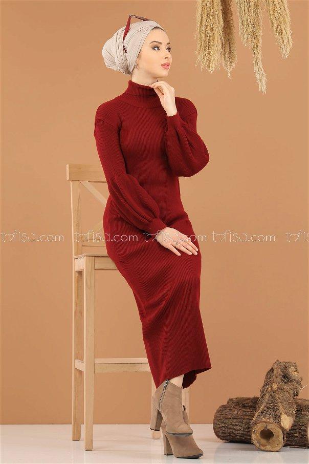 Dress Knitwear Balloon Arm claret red - 8278