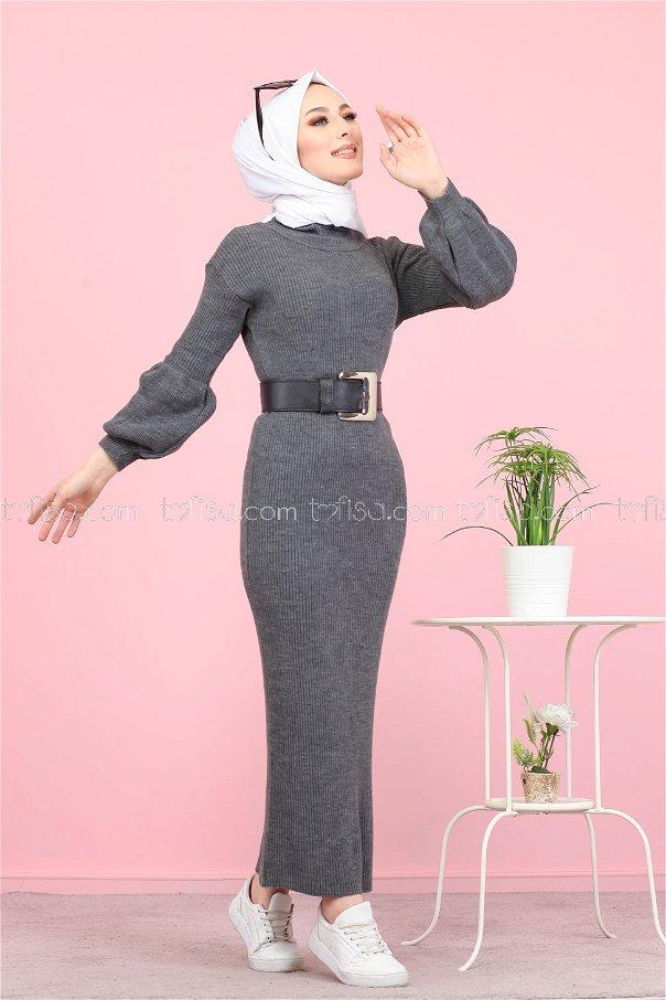Dress Knitwear Balloon Arm gray - 8278