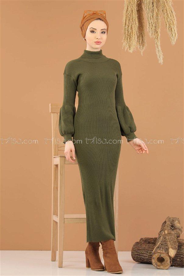 Dress Knitwear Balloon Arm khaki - 8278