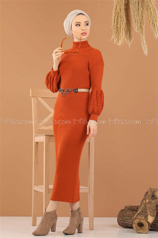 Dress Knitwear Balloon Arm orange - 8278