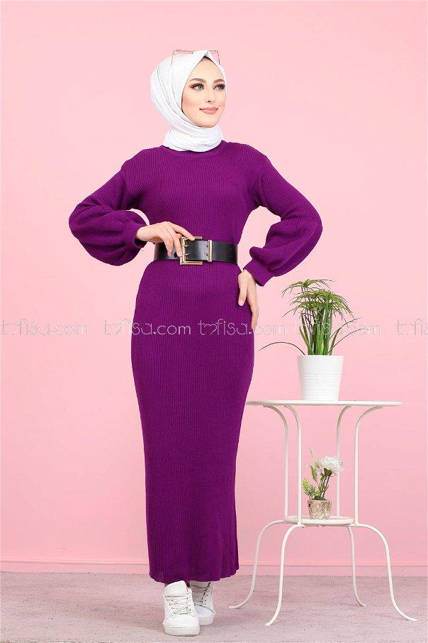 Dress Knitwear Balloon Arm Purple - 8278