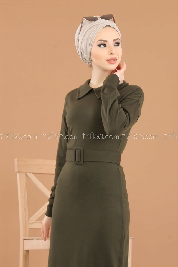 Dress Knitwear belt khaki - 8340
