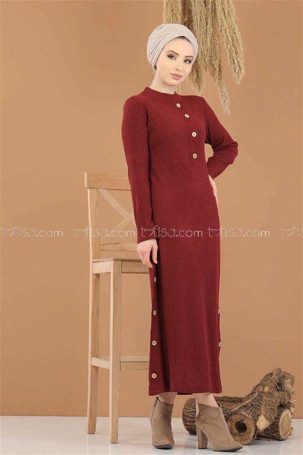 Dress Knitwear Details Button claret red - 8283