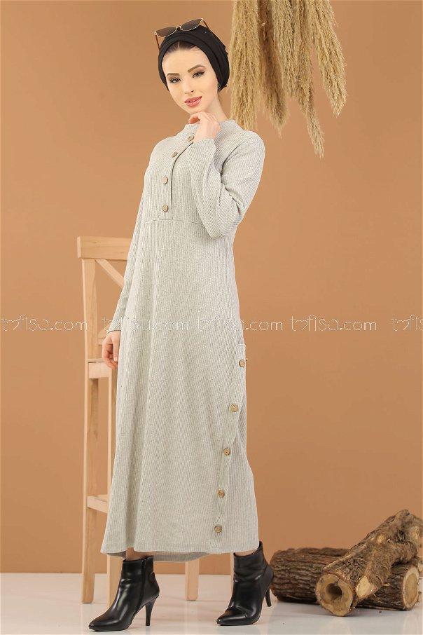 Dress Knitwear Details Button gray - 8283
