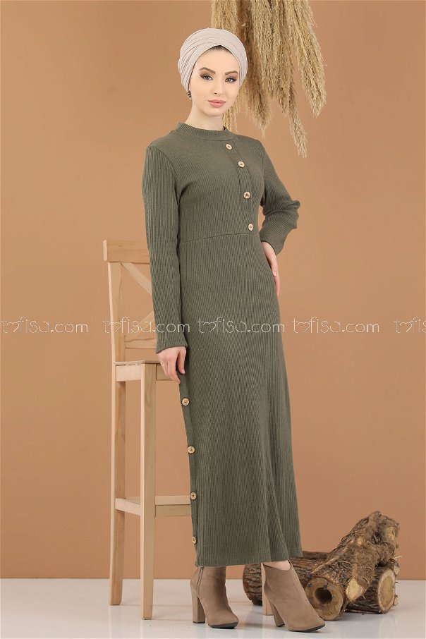 Dress Knitwear Details Button khaki - 8283