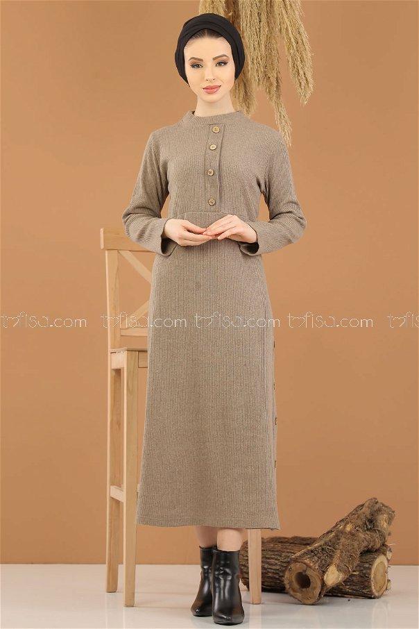 Dress Knitwear Details Button mink - 8283