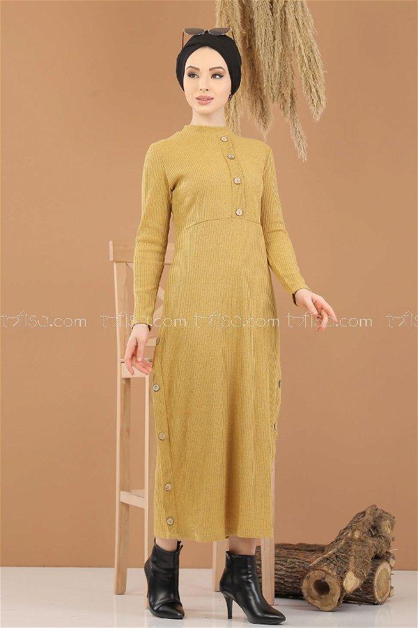 Dress Knitwear Details Button Mustard - 8283