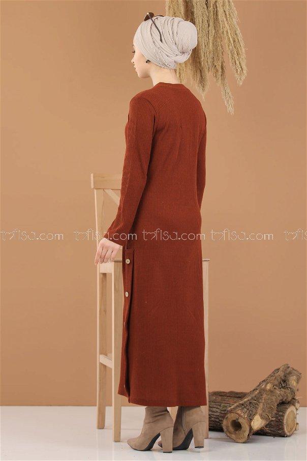 Dress Knitwear Details Button Orange - 8283