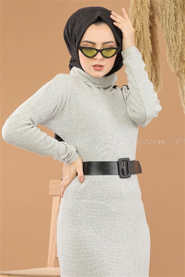 Dress Knitwear Neck collar belt gray - 8292