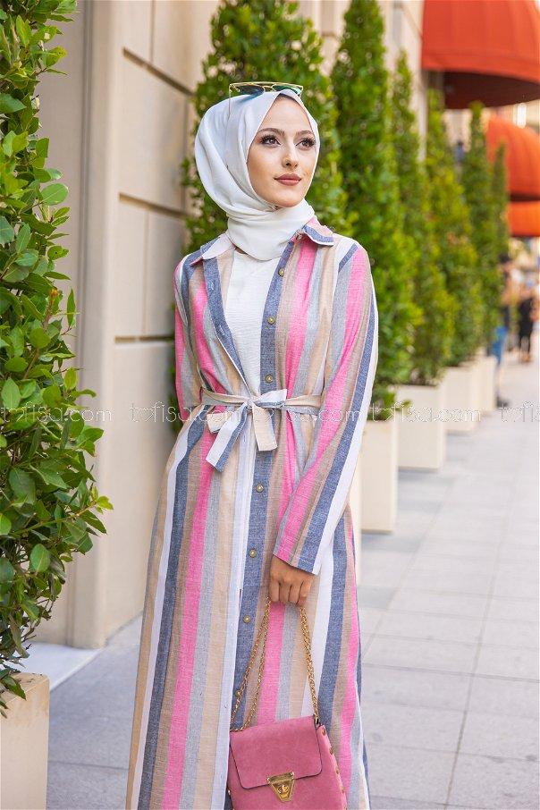 Dress Navy Blue Pink - 9057