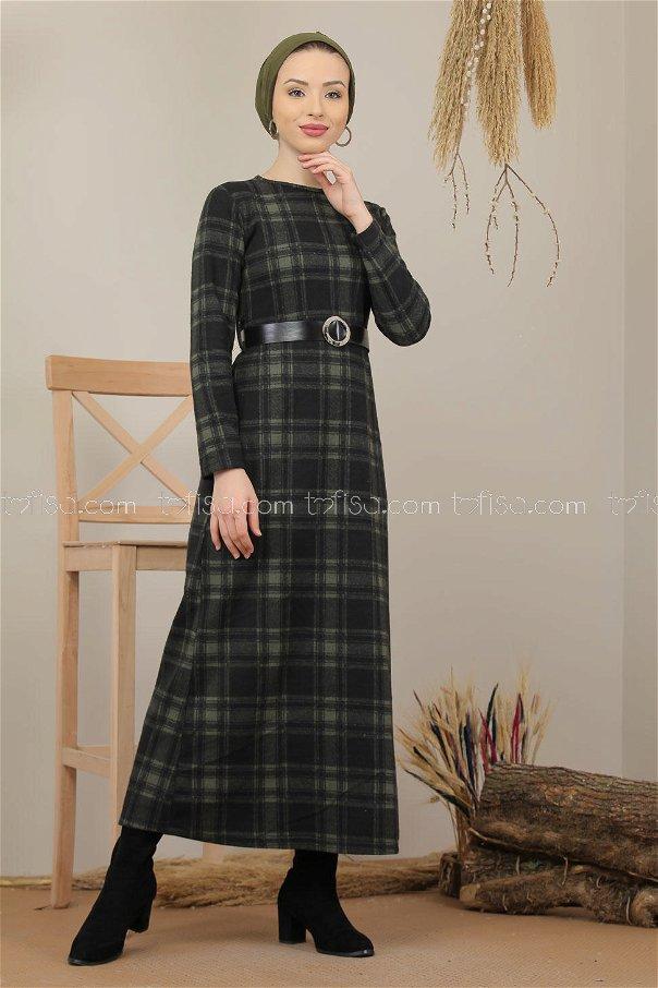 Dress Plaid khaki - 5196