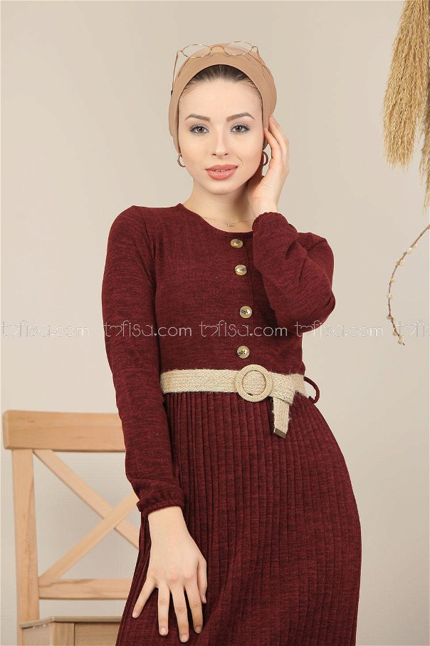 Dress pleated blet claret red - 8110