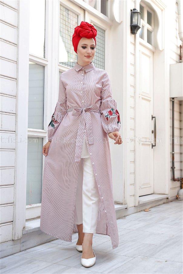 Dress Printed Claret Red - 3017
