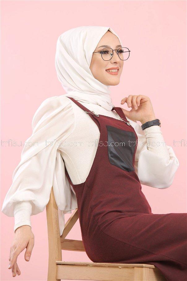 Dress Strapless claret red - 3006