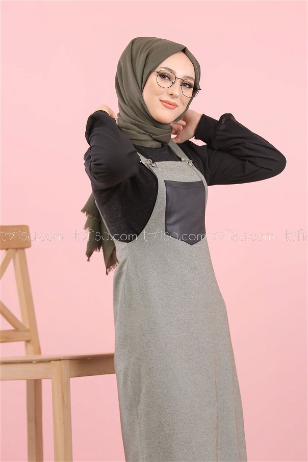Dress Strapless khaki - 3006