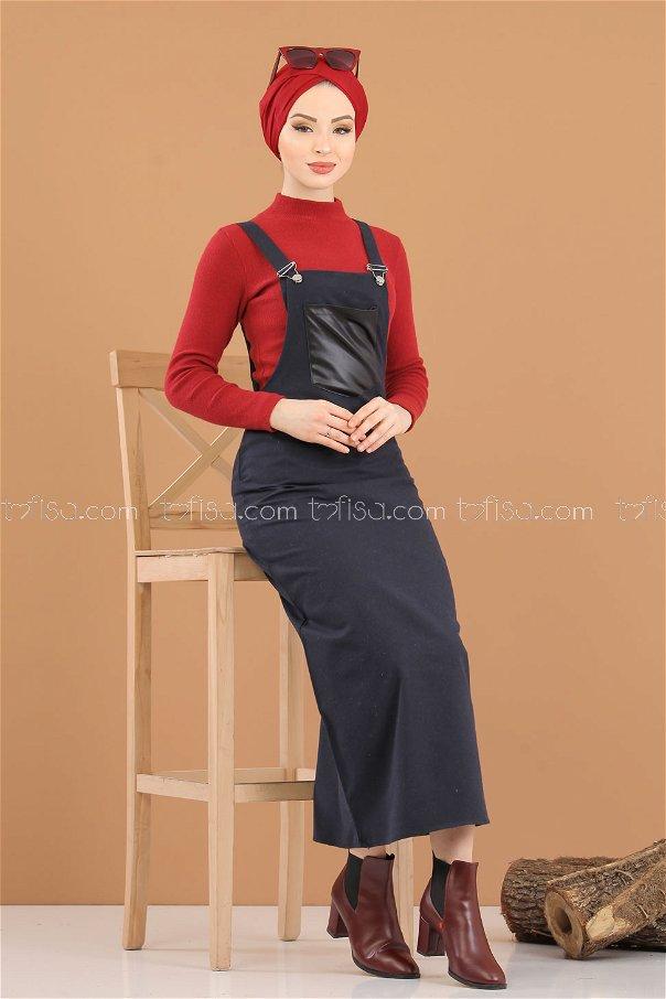 Dress Strapless navy blue - 3006