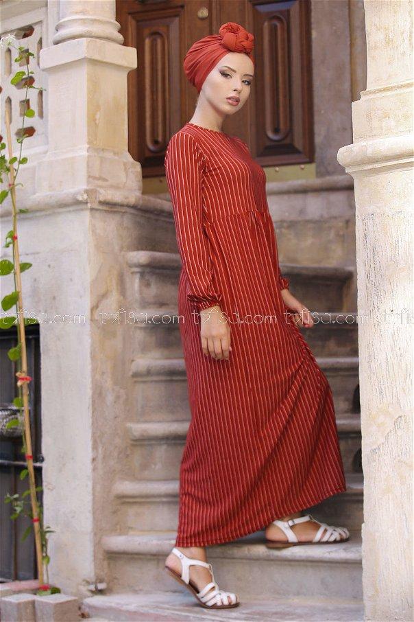 Dress Striped orang 02 6889
