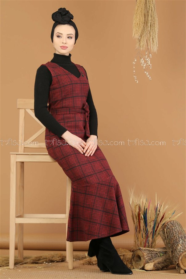 Dress without sleeves claret red - 5219