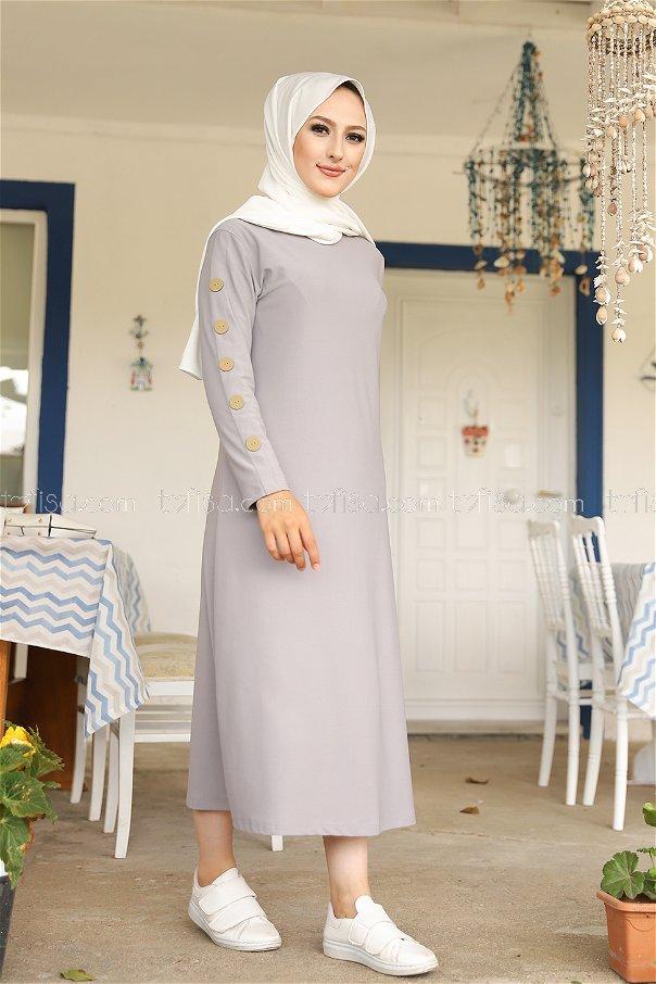 Dügme Detay Elbise Gri - 2789