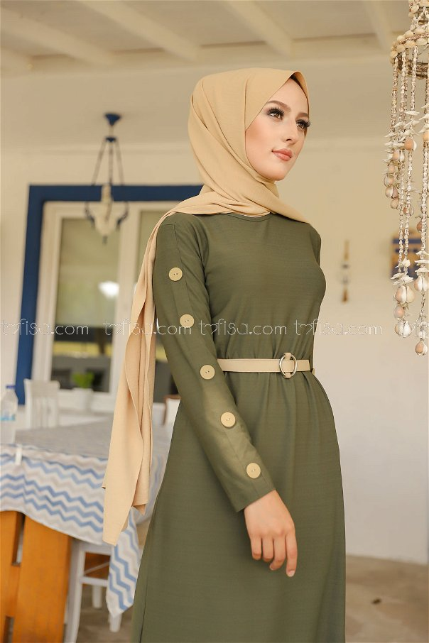 Dügme Detay Elbise Haki - 2789