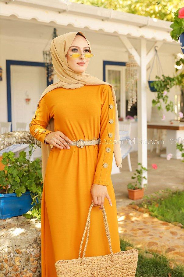 Dügme Detay Elbise Hardal - 2789