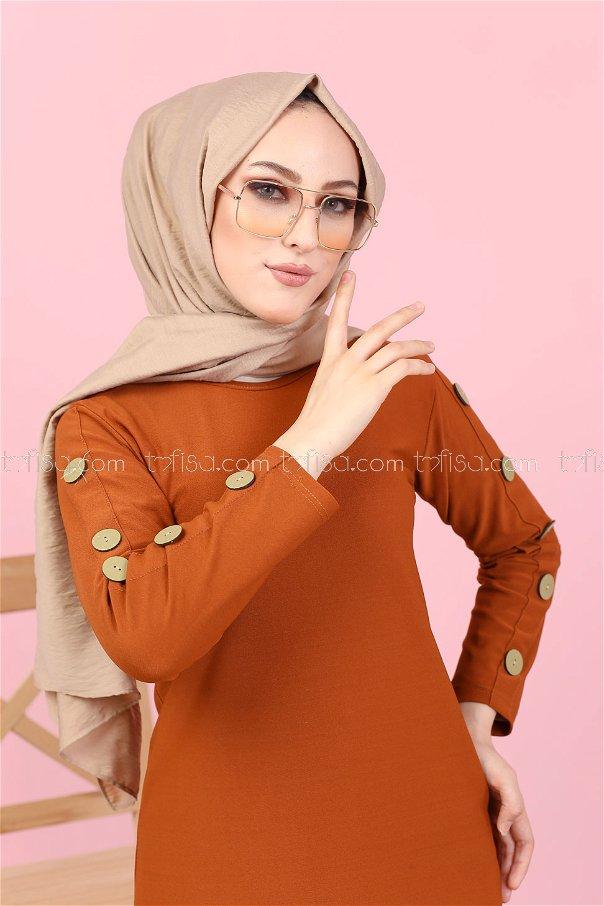 Dügme Detay Elbise Kiremit - 2789