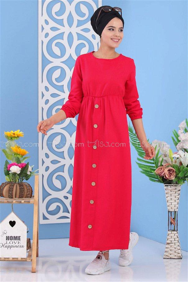Dügme Detay Elbise Kırmızı - 02 7160