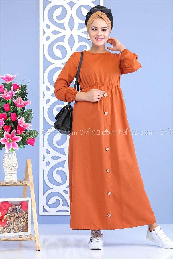 Dügme Detay Elbise Orange - 02 7160