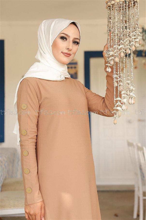 Dügme Detay Elbise Vizon - 2789