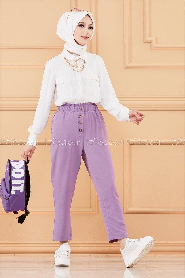 Dugme Detay Pantolon LILA - 20076