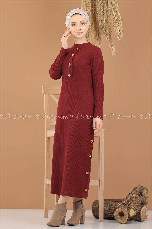 Dügme Detay Triko Elbise Bordo - 8283