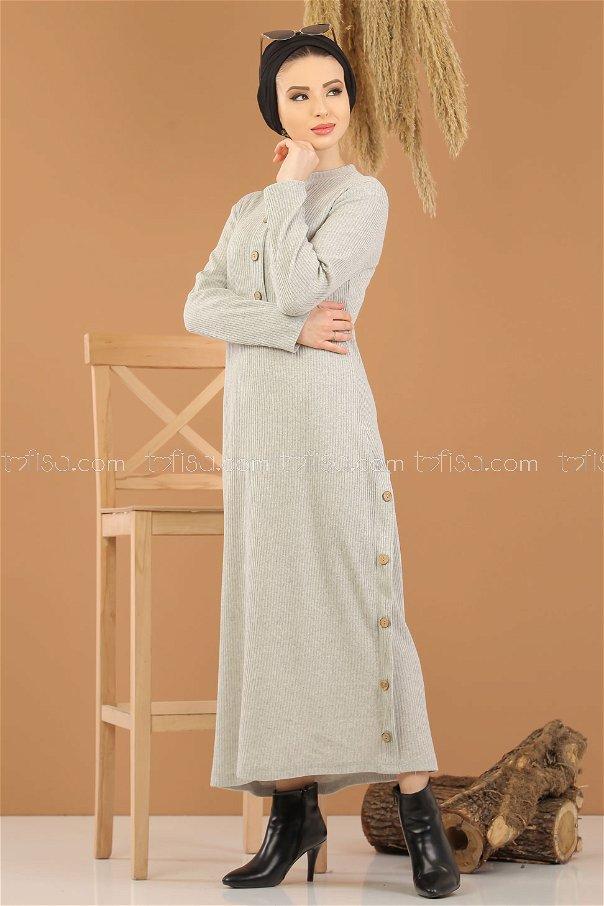 Dügme Detay Triko Elbise Gri - 8283