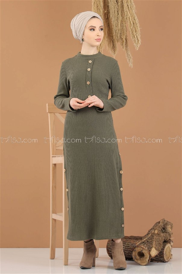 Dügme Detay Triko Elbise Haki - 8283