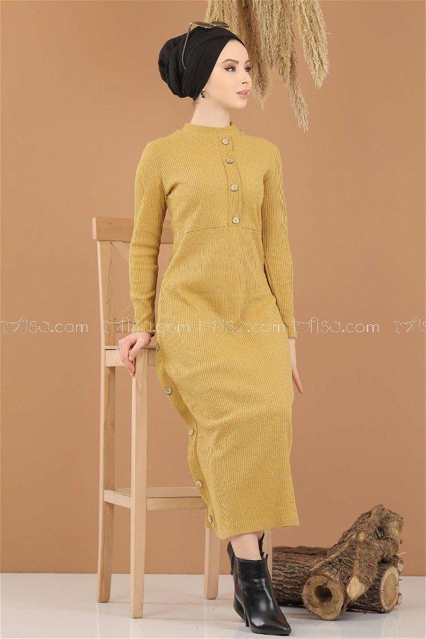 Dügme Detay Triko Elbise Hardal - 8283