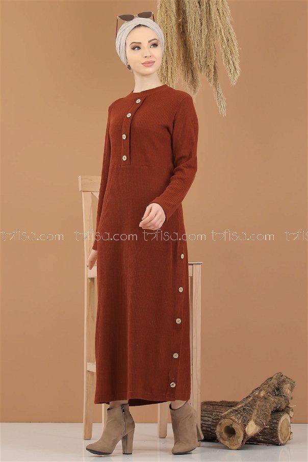 Dügme Detay Triko Elbise Kiremit - 8283