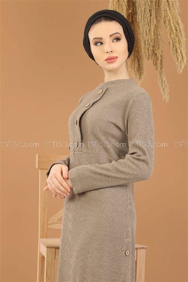 Dügme Detay Triko Elbise Vizon - 8283