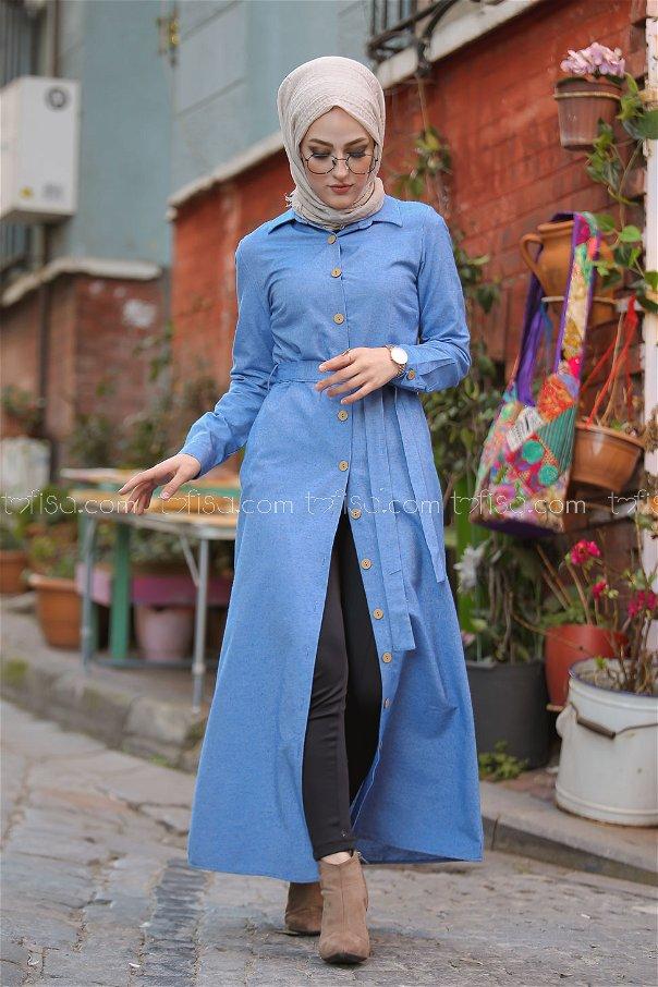 Dügmeli Uzun Gömlek Mavi - 3011