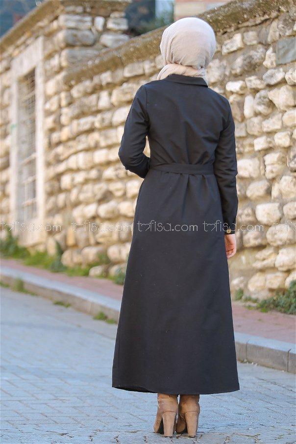 Dügmeli Uzun Gömlek Siyah - 3011