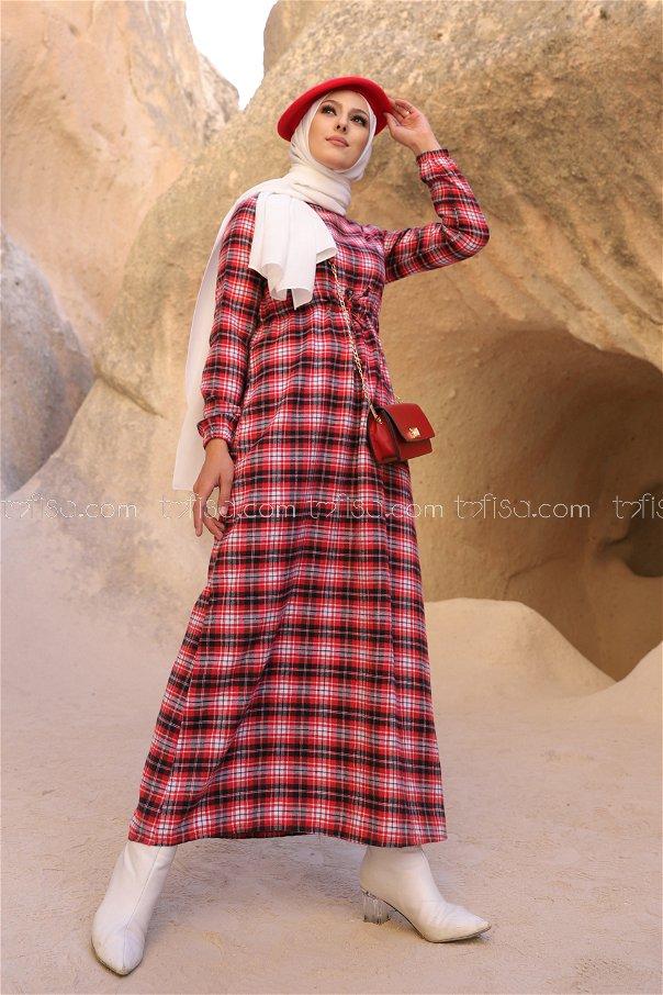 Ekose Elbise Ant Kırmızı - 3297