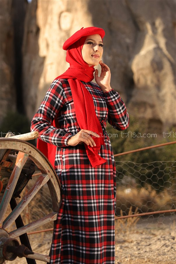 Ekose Elbise Laci Kırmızı - 3297