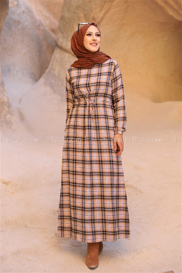 Ekose Elbise Lacivert Taba - 3297
