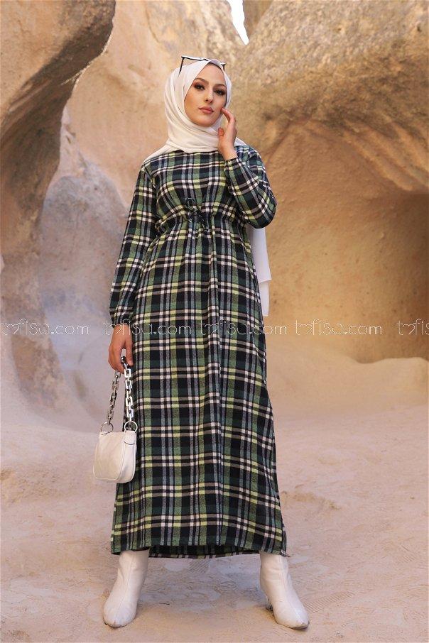 Ekose Elbise Lacivert Yeşil - 3297
