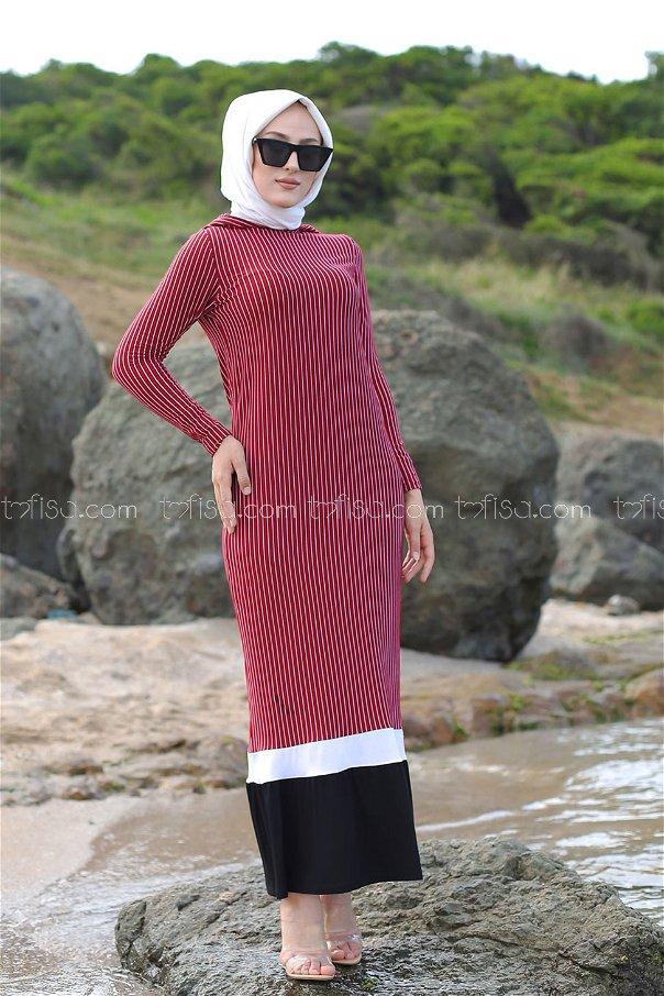 Elbise Bordo - 5269