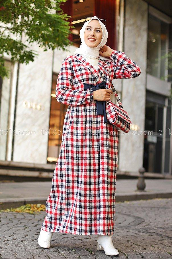 Elbise Çanta Kırmızı Lacivert - 9094