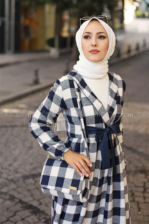 Elbise Çanta Lacivert Ekru - 9096
