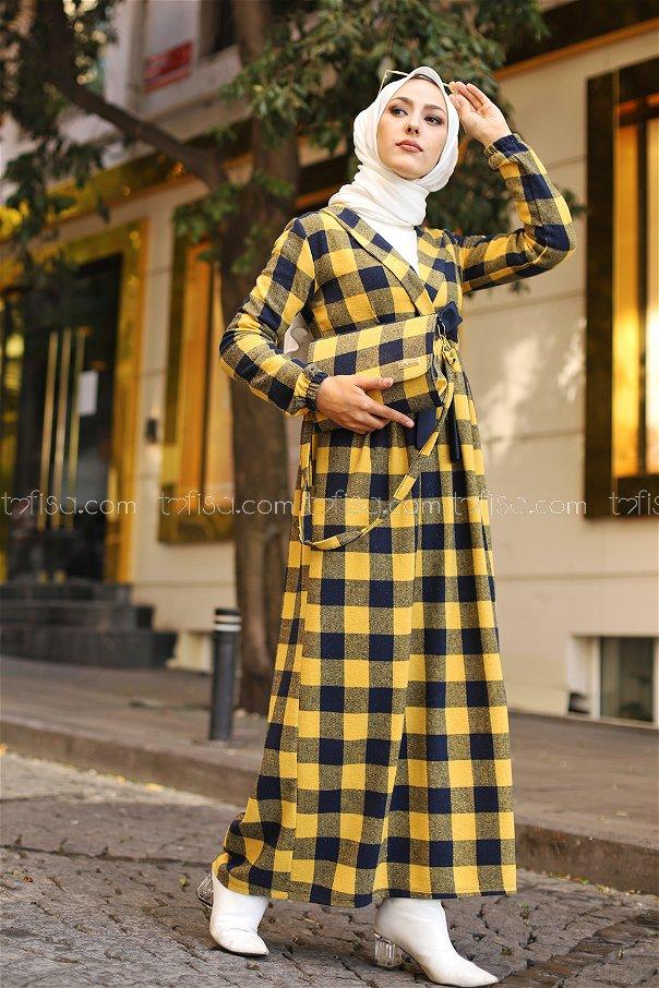 Elbise Çanta Lacivert Hardal - 9096