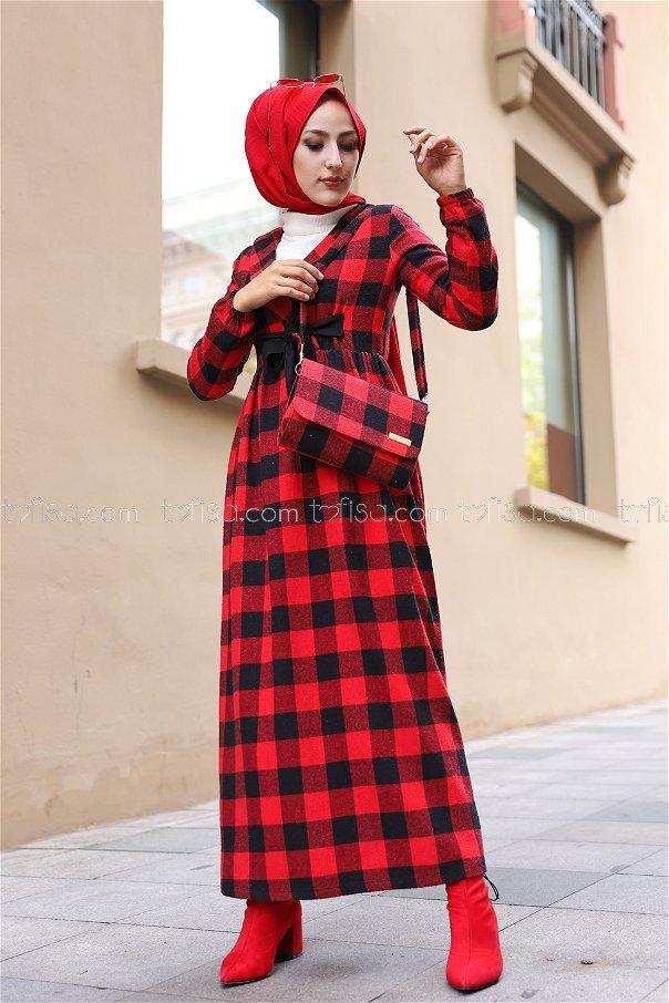 Elbise Çanta Siyah Kırmızı - 9096