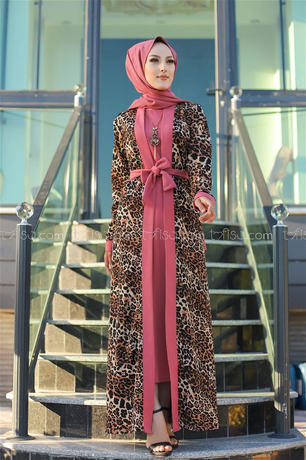 Elbise Ceket Kemer Kolye Gül - 9038